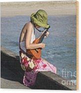 Ukulele Lady At Hanalei Bay Wood Print