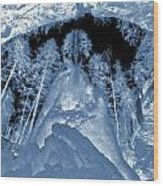 Ultraviolet Cave In Winter Wood Print