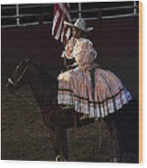 July 4th Rodeo Hispanic Female Rider Charreada Chandler Arizona 1999-2014 Wood Print