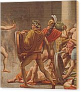 Ulysses Revenge On Penelopes Suitors Wood Print