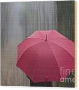 Umbrella And Blur Wood Print