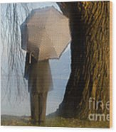 Umbrella And Tree Wood Print