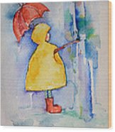 Umbrella Boy II Wood Print