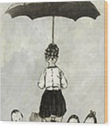 Umbrella Children Wood Print
