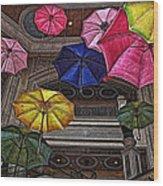 Umbrella Fun Wood Print