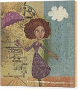 Umbrella Girl Wood Print