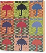 Umbrella In Pop Art Style Wood Print by Tommytechno Sweden