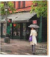 The Purple Bag - New York City In The Rain Wood Print