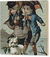 Umbrella In The Snow, Victorian Postcard Wood Print