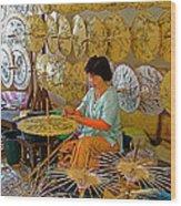 Umbrella Maker At Borsang Umbrella And Paper Factory In Chiang Mai-thailand Wood Print