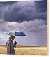Umbrella Man In Kansas Wheat Field Wood Print