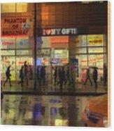 Umbrella Parade - New York In The Rain Wood Print