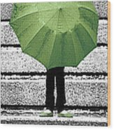 Umbrella Trio Wood Print