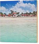 Umbrellas And Chairs On Grace Bay Beach Wood Print
