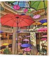Umbrellas At Palazzo Shops Wood Print by Amy Cicconi