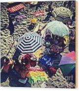 Umbrellas At The Beach Wood Print by H Hoffman