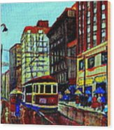 Umbrellas In The Rain Couples Stroll St.catherine Street Downtown Montreal Vintage  City Scene  Wood Print
