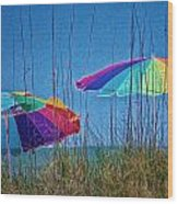 Umbrellas On Sanibel Island Beach Wood Print