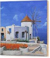 un mulino in Grecia Wood Print