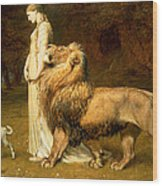 Una And Lion From Spensers Faerie Queene Wood Print by Briton Riviere