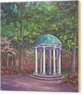 UNC Old Well in Spring Bloom Wood Print