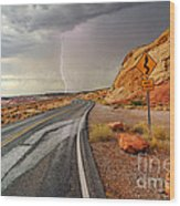 Uncertainty - Lightning Striking During A Storm In The Valley Of Fire State Park In Nevada. Wood Print