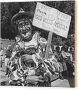 Uncle Harry Clown Drive Carefully  God Bless America Sign Tucson Arizona 1991 Wood Print
