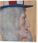 Uncle Sam Closeup Red White And Blue Wood Print