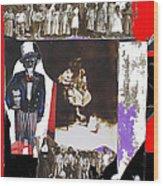 Uncle Sam Richard Nixon Mask Nuns Sitting Child Collage 2013 Wood Print