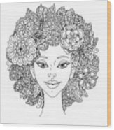Uncolored Girlish Face For Adult Wood Print
