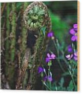 Uncurling Fern And Flower Wood Print