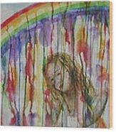 Under A Crying Rainbow Wood Print