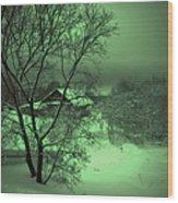 Under Green Moon Wood Print