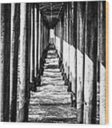 Under Huntington Beach Pier Black And White Picture Wood Print