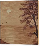 Under Moonlight Original Coffee Painting Wood Print