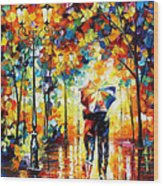 Under One Umbrella - Palette Knife Figures Oil Painting On Canvas By Leonid Afremov Wood Print