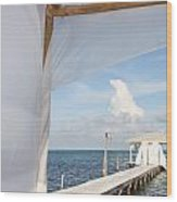 Under The Bamboo Lanai Caye Caulker Belize Wood Print