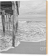 Under The Boardwalk Black And White Wood Print