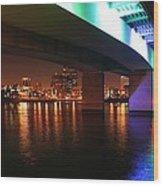 Under The Bridge In Long Beach Wood Print