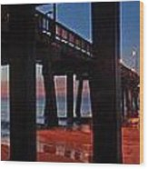 Under The Gulf State Pier  Wood Print by Michael Thomas