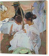 Under The Parasol Wood Print by Joaquin Sorolla y Bastida
