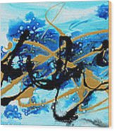 Under The Sea Original Abstract Blue Gold Painting By Madart Wood Print