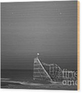 Under The Stars Bw Wood Print