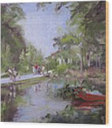 Under The Willows In The Crystal Bridges Pond Wood Print
