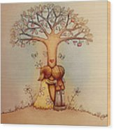 Underneath The Apple Tree Wood Print by Karin Taylor