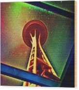 Underneath The Space Needle Wood Print