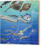Underwater Creatures Montage Wood Print
