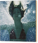 Underwater Self-portrait Wood Print
