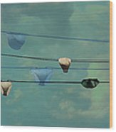 Underwear On A Washing Line  Wood Print by Jasna Buncic