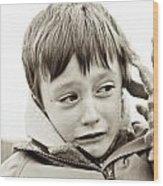 Unhappy Boy Wood Print by Tom Gowanlock